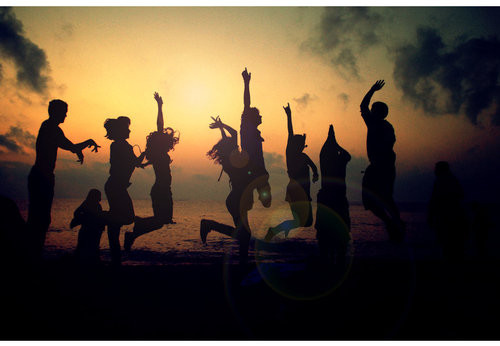 beach, beach boys, beautiful, boys, dancing, evening, freedom, girls, people, sky, summer, sun