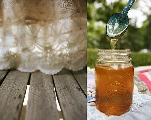 diptych, floorboards, honey, jar, lace, orange, picnic, samantha lamb, spoon, white
