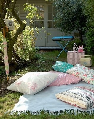 blanket, garden, home, outdoors, picnic, pillows