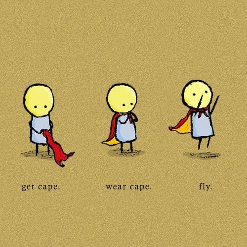 cape, cute, fly, funny, illustration, smile, superhero