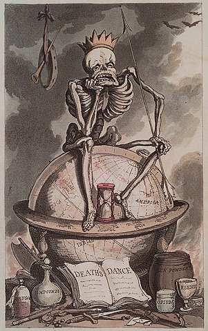 art, death, globe, illustration, skeleton, skull