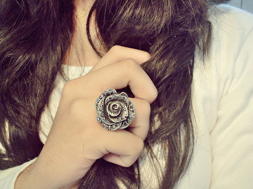 beautiful, fingers, girl, hair, hand, jewelry, lovely, photograph, photography, pretty, ring, rose