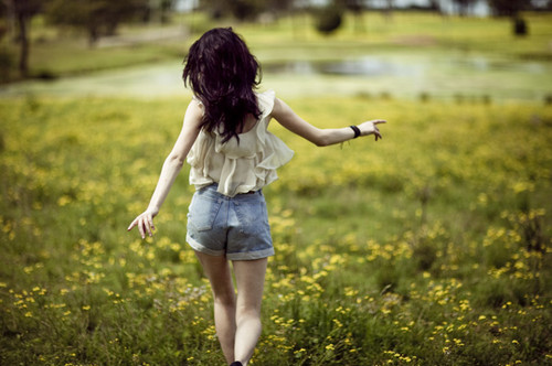 cool, cute, field, flower, girl, meadow
