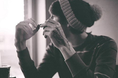 black and white, boy, fashion, fuckable, hat, tatto, tattoo