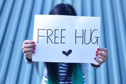 brunette, cute, free, free hug, free hugs, girl