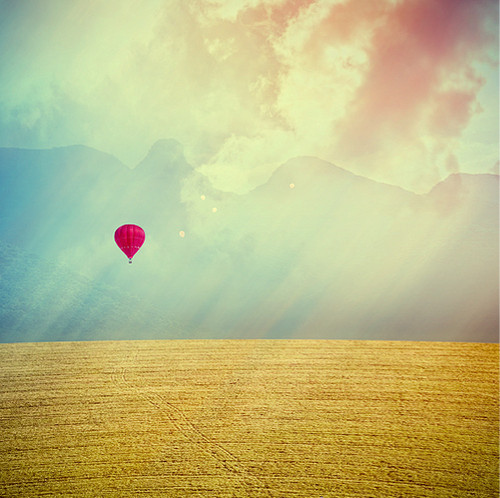 balloons, field, fly away, happiness, hot air balloon, nature, photo, photomanipulation, red balloon, sky, summer