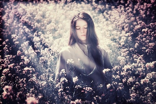 art, dark hair, dreamy, flower, flowers, flowers in soft light