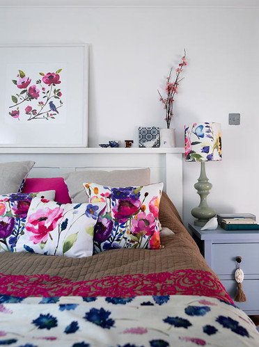 badroom, beautiful, bedroom, decor, floral, flowers