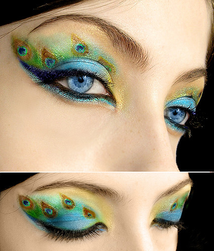 beautiful, body art, cosmetic application, eyes, green, make up