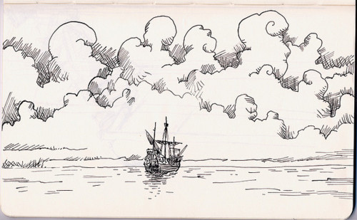 black and white, clouds, drawing, illustration, line, ocean, sailing ship, sails, sea, ship, sketch, sky