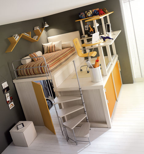 aposentos, architecture, bed, bedroom, chair, closet, decor, household, space saving, stairs, monolocale, design, interior, kid bedroom, home, staircase, room, desk, space, fotografia, study, bunk bed