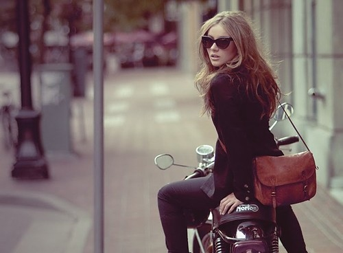 apparels, bag, bike, clothes, cool, fashion, feeling, female, girl, girls, glasses, hair, hot, iva jean, look back, lookbook, model, motor cycle, motorcycle, norton, people, photography, retro, shades, street, style, transport, travel, want, woman