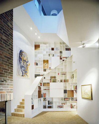 architecture, artistic, books, decor, decorations, furniture, home, house, interior, interior design, interior lighting, shelves, staircase, stairs, stroage, wall