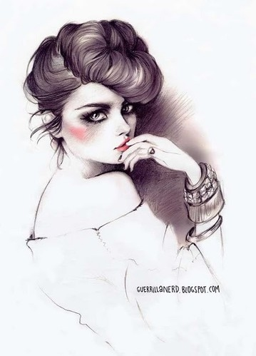 art, drawings, fashion, girl, hairstyle, illustration