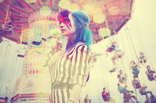 amusement, art, blue, bokeh, carnival, charming