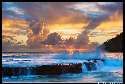 exotic locations, ocean, scenery, sunrise, water, waves