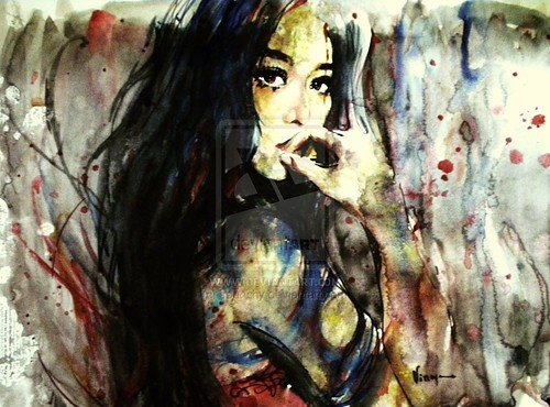 abstract, devianart ilustration, emotion, illustration girl, painting