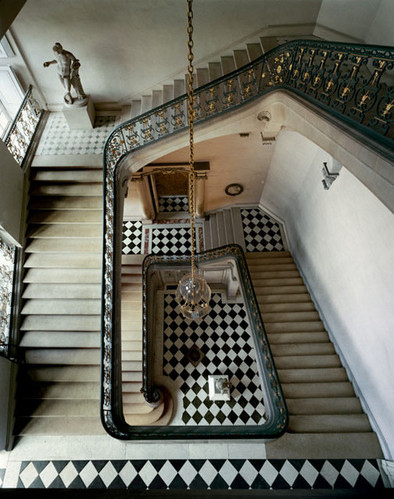 architecture, arquitectura, black, checkered, escadas, house, interior, interiors, life, mansion, photography, staircase, stairs, versailles, white