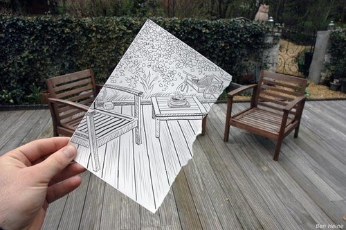 amazing, art, chairs, creative, deck, drawing