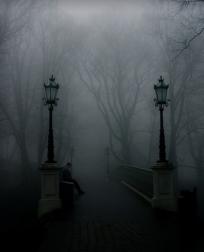 beautiful, black and white, bridge, brigde, creepy, fog