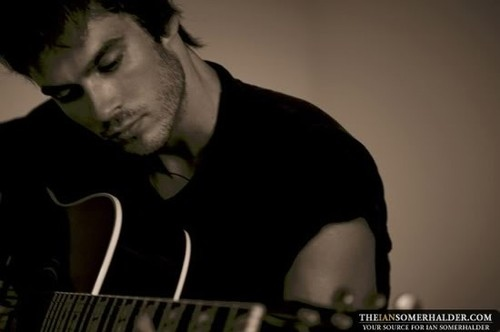 actor, black and white, guitar, ian, ian somerhalder, male, man, model, potrait, sexy, vampire diaries