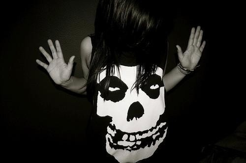 black, dark, girl, indie, misfits, photography, rock, skull, white, woman