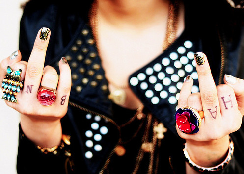 accessories, fashion, fc u, fuck you, funny, girl, hands, middle finger, nice, punk, the finger, wtf?