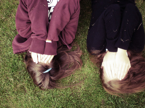 best friends, cute, friends, grass, hair, hands