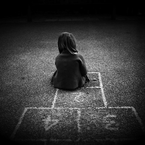 alone, black and white, child, girl, grey, lonely - image ...