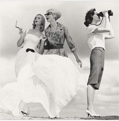 1950s, binoculars, black and white, dresses, fashion, girl