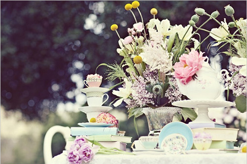 book, flower, flowers, greetings, pastels, photograph, pretty, still life, teacups, tee time, vintage