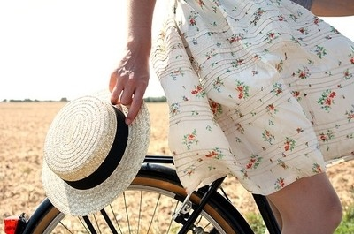 beautiful, bicycle, bike, dress, fashion, floral