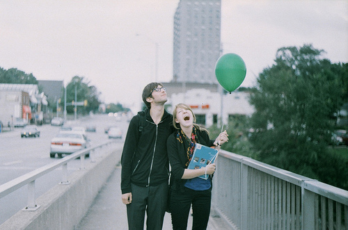 baloon, city, couple, friends, girl, green