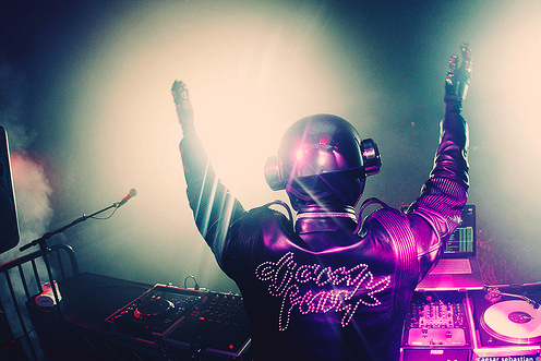 daft punk, lights, music, neon, photography, pink, purple, rave