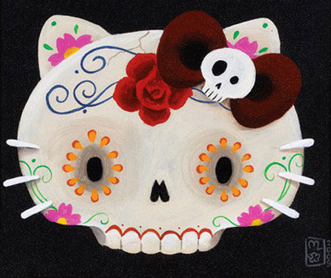 art, cute, day of the dead, hello kitty, hello kitty skull, likeit49