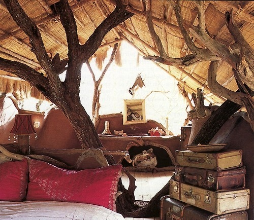 amazing, attic, beautiful, bed, bedroom, bones, books, branch, cabin, dream bedroom, forest, frame, furniture, home, house, interior, interior design, lamp, light, lights, old, perfect, red, room, suitcase, summer, sun, table, tree, treehouse, wood