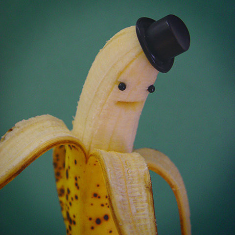 banana, cute, fruit, fun, funny, hat