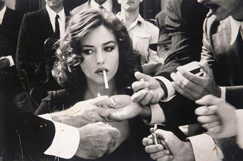 actress, beauty, black and white, brunette, cigarette, cigarettes, cigs, conceptual, face, favorites, gentlemen, girl, hands, iuncaring, lighter, malena, man, men, monica, monica bellucci, monicabelluci, movie, photo, photography, player, portrait, sigar