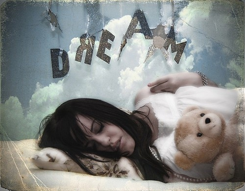 bear, beautiful, bedroom, clouds, dream, dream girl, dreaming, flickrsfinest, girl, hair, lovely, photography, pillow, portrait, sky, sleep, sleeping, stars, teddy, unknown artist, woman, words