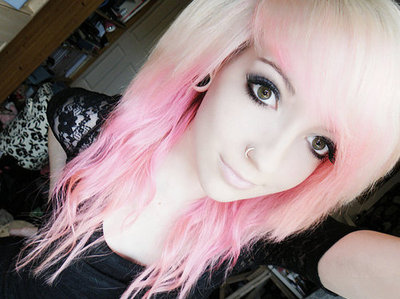 piercing, pink hair, plug, scene, scene girl, stretched ears