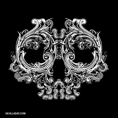art, black, black and white, black background, blackandwhite, bones, curves, decorative, desig, digital art, filigree skull, flourish, forms, graphic, graphics, illustration, inspiration, lineart, lovely, mar, noah scalin, skull, victorian, white