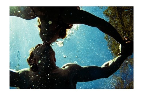 couple, kiss, love, sea, surf, underwater kiss
