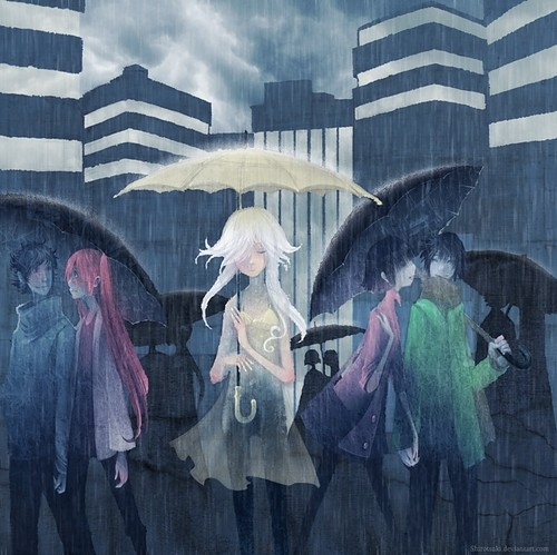 alone, art, blue, color, girls, illustration, paint, people, rain, texture, white, women