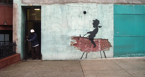 animal, art, arte urbano, banksy, bricks, clever