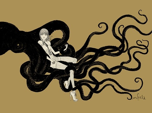 art, atmosphere, beauty, graphic, illustration, octopus, painting, sexy, surreal