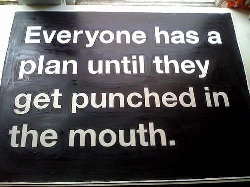advice, after plan b, funny, magic, mouth punch, plan, planning, plans, punched, punched in the mouth, report, sign, text, truth, typography, words