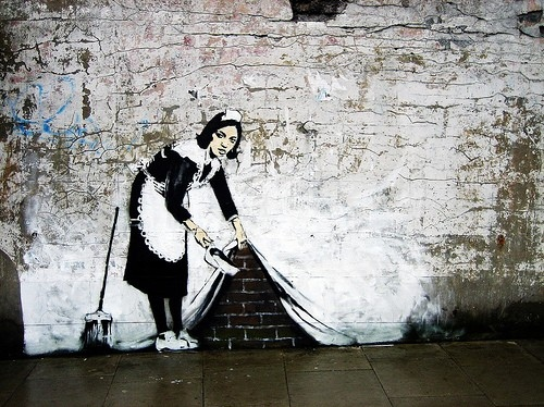 art, banksy, bansky, cleaning lady, creative, graf