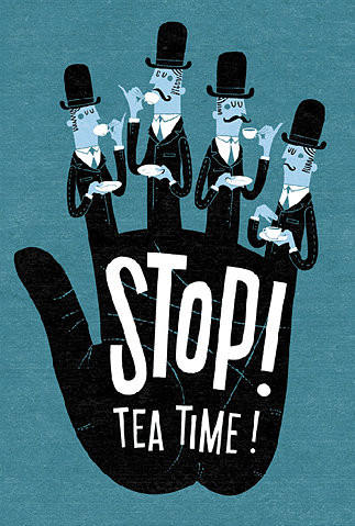 art, characters, childrens illustration, cup of, design, english, graphic, vintage, india, man, mangiami, tea time, illustration, illustrazioni, tea, graphic design, stop, hand, poster, wta