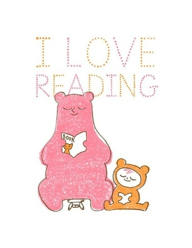 bear, books, character, graphic, i love, illustration, nerd, people, pink, quote, reading, typography, watercolor, word art, words