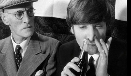 1960s, beatles, black and white, boys, celebrity, coca